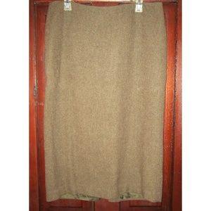 Ralph Lauren 12 Skirt Wool Tweed Long Pencil Brown